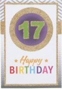 Originelle Klappkarte mit Zahlen Geburtstagskarte Zahlenmotiv zum 17.Geburtstag