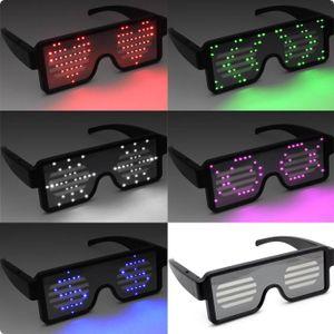 Leuchtbrille ohne Kabel wiederaufladbar mit Leuchtgrafiken & Schriften Farbe - weiss