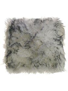 Sitzkissen aus bestem Lammfell hochwollig, Farben:Schwarz mit weiß