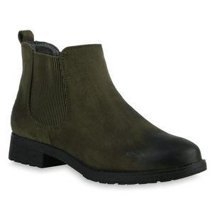 Mytrendshoe Gefütterte Damen Chelsea Boots Profil Sohle Stiefeletten 811747, Farbe: Khaki, Größe: 40