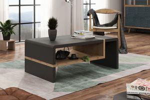 Design Couchtisch Folk Anthrazit Matt / Eiche Artisan Tisch Wohnzimmertisch 100x60x40cm mit Ablagefläche