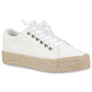 Mytrendshoe Damen Plateau Sneaker Bast Schnürer Turnschuhe Glitzer 820541, Farbe: Weiß, Größe: 41