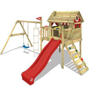 WICKEY Spielturm Klettergerüst Smart Travel mit Schaukel & roter Rutsche, Stelzenhaus mit Kletterleiter & Spiel-Zubehör