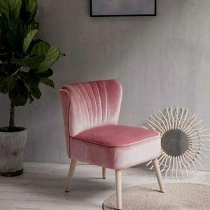 Laxllent Stuhl Samt Rosa Sessel Polsterstuhl 57x68x76CM,mit Holzfüß Weich Gepolstert Stuhl für Esszimmer Wohnzimmer Salon