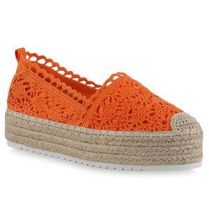 Giralin Damen Slippers Espadrilles Spitze Plateau Bast Profil-Sohle Schuhe 836704, Farbe: Orange, Größe: 39