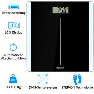 Personenwaage Digital Körper Waage | 180kg | schwarz | hochpräzises DMS-Sensorsystem | LCD Display | gehärtetes Sicherheitsglas | Automatische Abschaltfunktion
