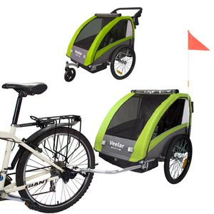 TIGGO Fahrradanhänger VEELAR SPORT Kinderfahrradanhänger mit Buggy Set + Federung