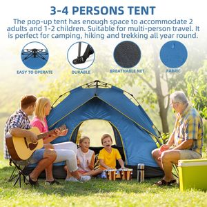 Campingzelte Schnellaufbau Zelt   Pop-Up Wurfzelt Sekundenzelt 3-4 Personen   Familienzelt Automatikzelt   Blaues Zelt