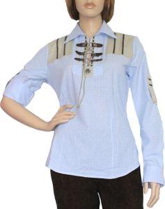 Trachtenbluse Damen Trachten lederhosen-bluse Trachtenmode hellblau kariert, Größe:38