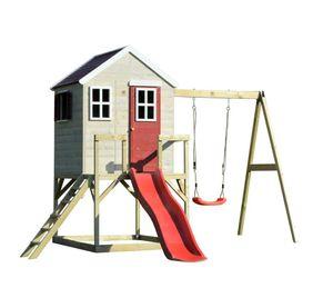 Wendi Toys Kinderspielhaus Elefant 3,5x3,3 m natur Spielturm inkl. Veranda, Schaukelgerüst und Rutsche