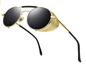 Steampunk Stil Rund Vintage Polarisiert Sonnenbrillen Retro Brillen UV400 Schutz Metall Rahmen, B8 Gold Rahmen/Grau Linse(nicht Polarisiert)