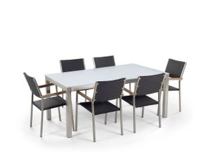 Gartenmöbel Set Weiß Schwarz Sicherheitsglas Edelstahl Tisch 180 cm 6 Stühle Terrasse Outdoor Modern