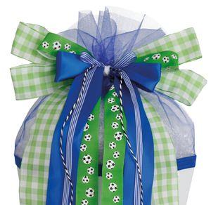 "ROTH Schultütenschleife ""Soccer"" grün / blau fertig gebunden"