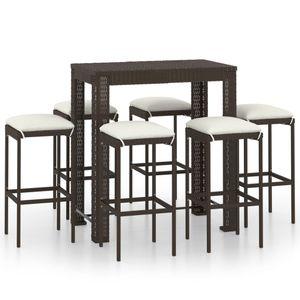 Balkonset 7-TLG. Gartenbar-Set Garten-Essgruppe 6 Stühle + Tisch, Sitzgruppe für 6 Personen mit Kissen Poly Rattan Braun