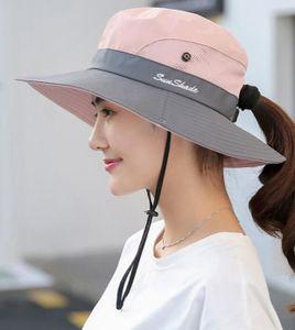 Sonnenhut Damen UV Schutz Hut Faltbar Wanderhut Gartenhut Boonie Fischerhut-Rosa