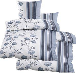 4-tlg. Seersucker Bettwäsche 2x (135x200 +80x80cm), blau weiß, Blüten, bügelfrei, Microfaser