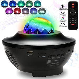 Wolketon LED Sternenhimmel Projektor Nachtlicht, Wasserwellen Projektor mit Lautsprecher Fernbedienung USB