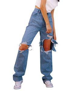 Sexydance Frauen Mode Destroyed Jeans Taschen Beiläufig Reißverschluss Zerstörte Hosen,Farbe:Blau,Größe:L