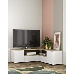 SYMBIOSYS TV-Ständer WINKEL - Zeitgenössisch - Nachbildung aus natürlicher und weißer Eiche - L 129,8 cm
