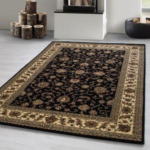 Orientteppich,kurzflor Wohnzimmerteppich,klassiker Teppich Orientalisch,SCHWARZ, Maße:240 cm x 340 cm