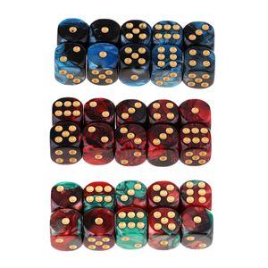 30 Stück Zwei Farben 6 Seitige Spielwürfel Vintage Pearl Color 16mm D6 Harz Würfel Für RPG Würfel