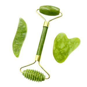 Jadestein Set Jade Roller & 2 Gua Sha Schaber in verschiedenen Formen Massagewerkzeuge fuer die Gesichtspflege Anti-Aging Gesicht Augen Hals Hals Beauty Roller Gesichtsmassagegeraet