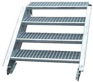 Stahltreppe verzinkt 4 Stufen Geschosshöhe 55-85cm / Stufenmaße 60 cm x 24 cm