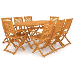 Gartenmöbel Essgruppe 8 Personen - Luxus Esstisch Set für Garten, 9-TLG. Gartengarnitur Klappbar Terrassenmöbel, Massivholz Akazie❀3155