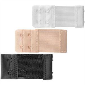 3er Set - Damen BH-Verlängerer 38mm ( 1x Schwarz, 1x Weiß, 1x Beige ), flexible Erweiterung für BH's - Elastischer Bra Extender, Erweiterungs Set
