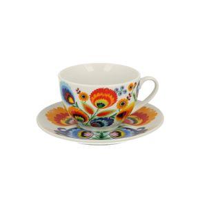 TASSE Porzellan Kaffeetasse Teetasse Becher mit Untertasse Folklore 250 ml DUO