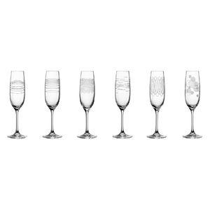 LEONARDO Casella Sektglas TEQTON Glas mit Diagravuren 190 ml, klar, 6-teilig (6er Pack)