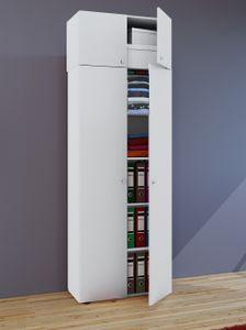 """VCM Mehrzweckschrank Dielenschrank """"Vandol""""   Auswahlmöglichkeiten: +Schublade / +Aufsatz Höhe 218 cm: Weiß"""