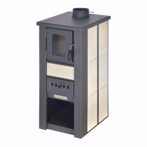 acerto® - LAVA Kaminofen Ceramic creme mit Sichtfenster 35x44x82 cm - Kompakter Premium Holzofen für kleine Räume mit 8 kW Heizleistung