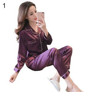 Damen Satin Pyjama Set V-Ausschnitt Langarm Einfarbig Zweiteilige Nachtwäsche||Lila||5XL