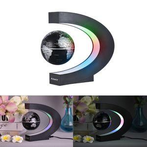 Aibecy Magnetische Schwebender Globus Beleuchtet 3 Zoll C-förmiger Weltkarten Globus mit LED-Farblichtern für die Home Office Schreibtischdekoration Schwarz