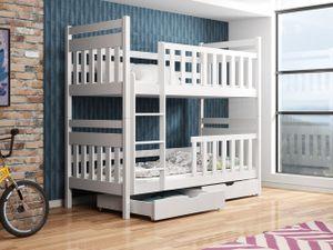 Mirjan24 Etagenbett Espira, Stilvoll Jugendbett mit zwei Bettschubladen, Bett aus Kiefernholz (Farbe: Weiß, Größe: 90x200)