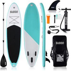 Triclicks SUP Aufblasbares Stand Up Paddle Board Paddling Board EVA Deck Surfboard SUP Board mit Zubehör Rucksack, Leine, 3 Finnen, Verstellbares Paddel, Handpumpe mit Druckmesser, Reparaturset für Erwachsenenangeln Yoga River Lake, 300 x 76 x 15cm