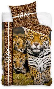 Leopard Bettwäsche 135x200 cm Leoparden braun Safari Afrika Renforce Baumwolle
