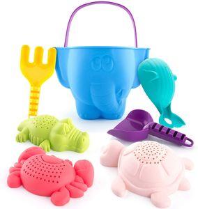 Sandspielzeug Set für Kinder und Kleinkinder, Strandspielzeug Enthält Sandschaufel und Eimer, Schildkröte Krokodil Wal Krabben Formen Wasserspielzeug für Badewanne, 7 Stück