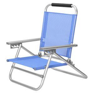 SONGMICS Strandstuhl mit Armlehnen | tragbarer Klappstuhl Rückenlehne 4-stufig verstellbar blau GCB65BU