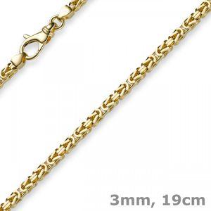 3mm Armband Armkette Königskette aus 750 Gold Gelbgold 19cm Herren