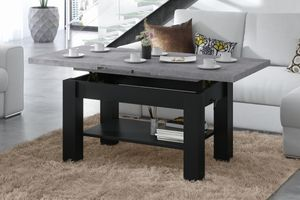 Design Couchtisch Tisch Astoria Beton Betonoptik / Schwarz matt stufenlos höhenverstellbar 57 - 69cm ausziehbar 110 - 150cm mit Ablagefläche Esstisch