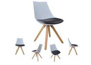 i-flair 6er Set Schalenstuhle, weiß-schwarze Esszimmerstuhle mit Sitzkissen aus Kunstleder - Gusto