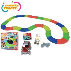 Fantastic Tracks® Autorennbahn oder Rennstrecke + Auto mit 3 LED-Lichtern, 220 -Teile - Original aus TV-WERBUNG