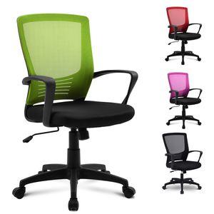 Merax Bürostuhl Schreibtischstuhl Ergonomisch Drehstuhl sitzkomfort Bürodrehstuhl Computertischstuhl mit Rückenlehne, Chefsessel mit Mesh Netz Wippfunktion, belastbar bis 100kg, Grün