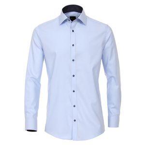 Größe 39 Venti Hemd Hellblau mit Besatz Langarm uninah Slim Fit tailliert Kentkragen 100% Baumwolle Bügelfrei