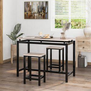 Bartisch-Set mit 2 Barhockern | Stehtisch 100 x 40 x 90 cm | Küchentresen mit Barstühlen | im Industrie-Design Vintage dunkelbraun LBT15X