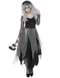 Halloween Damen Kostüm Geisterbraut Zombie Hexe mit Schleier Gr.L