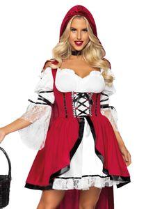 y Rotkäppchen Märchen-Kostüm für Damen rot-weiß-schwarz