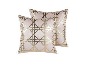 Dekokissen 2er Set Rosa/Gold Polsterbezug Goldenes Muster 45 x 45 cm Wohnzimmer Salon Schlafzimmer Modern